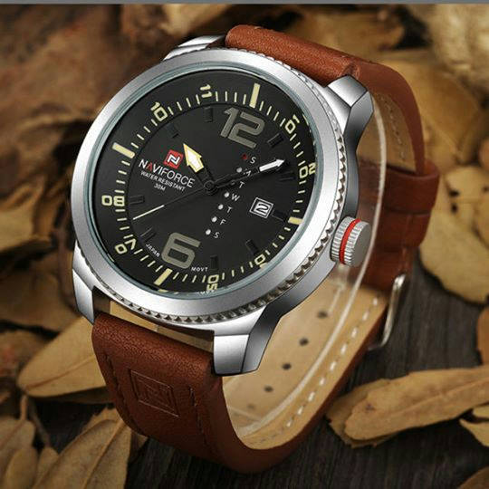 Bponi - Naviforce Casual Watch For Men Analog Leather - NF-9063