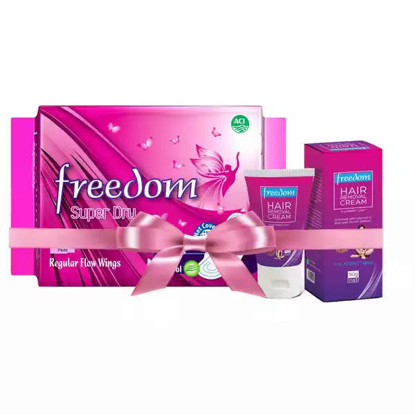 Bponi - A18 Freedom Regular Flow Wings (Freedom Hair Removal Cream 50 gm Free) 20 pads