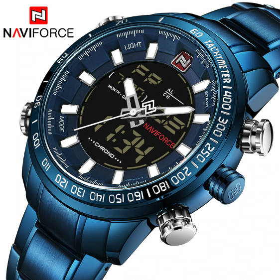 Bponi | NAVIFORCE NF9093 Royal Blue Stainless Steel Dual Time Wrist Watch For Men