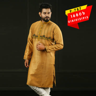 Bponi   Stylish and Exclusive Men's Cotton Punjabi with embroidery