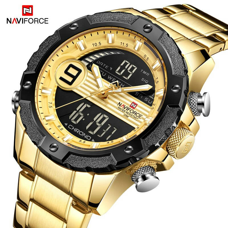 Bponi - NAVIFORCE NF9146 Golden Stainless Steel Dual Time Wrist Watch For Men