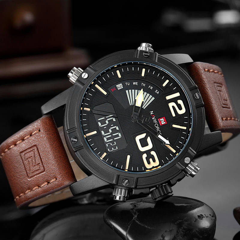 Bponi - Naviforce-NF9095-A Brown Analog-Digital Chronograph Watch for-Men