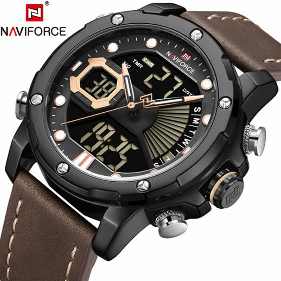 Bponi - NAVIFORCE NF9172 PU Leather Wrist Watch For Men-