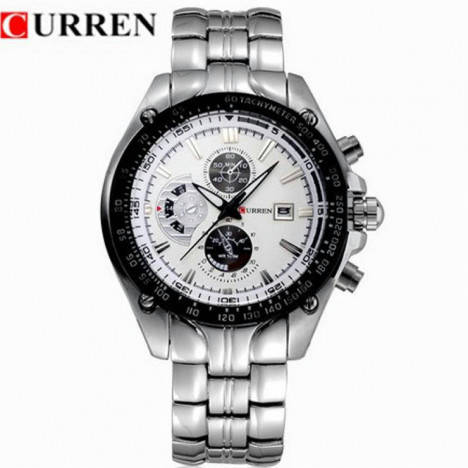 Bponi - CURREN 8083 Silver Stainless Steel Chronograph Watch
