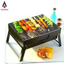 Wulekue 1Set Steel Outdoor Folding Barbecue Rack Wire Meshes Portable Household Charcoal Grills For Camping Campfire BBQ Tools - Bponi