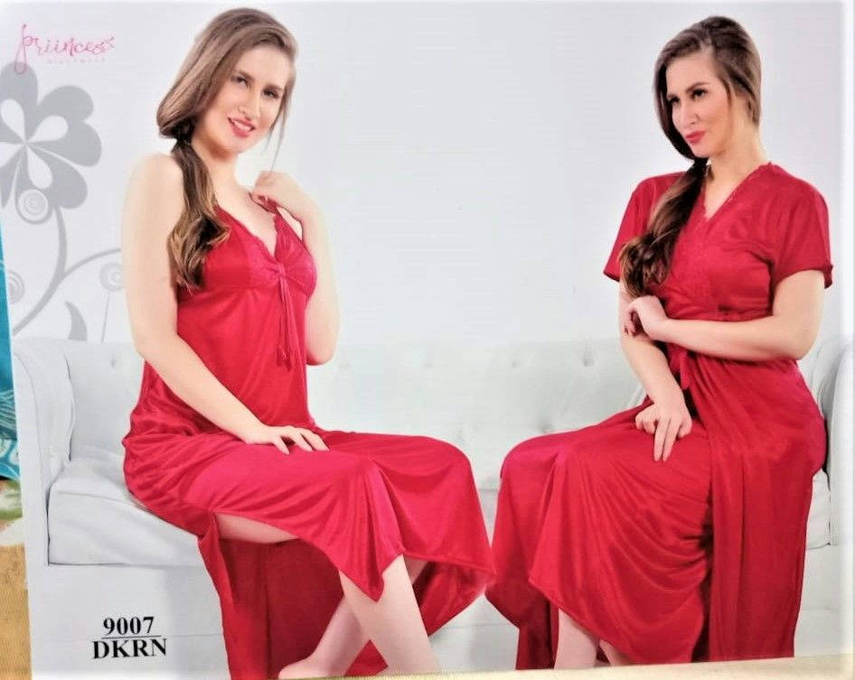 (2 Part) Long Fashionable Stylish And Comfortable Night Dress-Dkrn - Fg 15 - Orf - Bponi