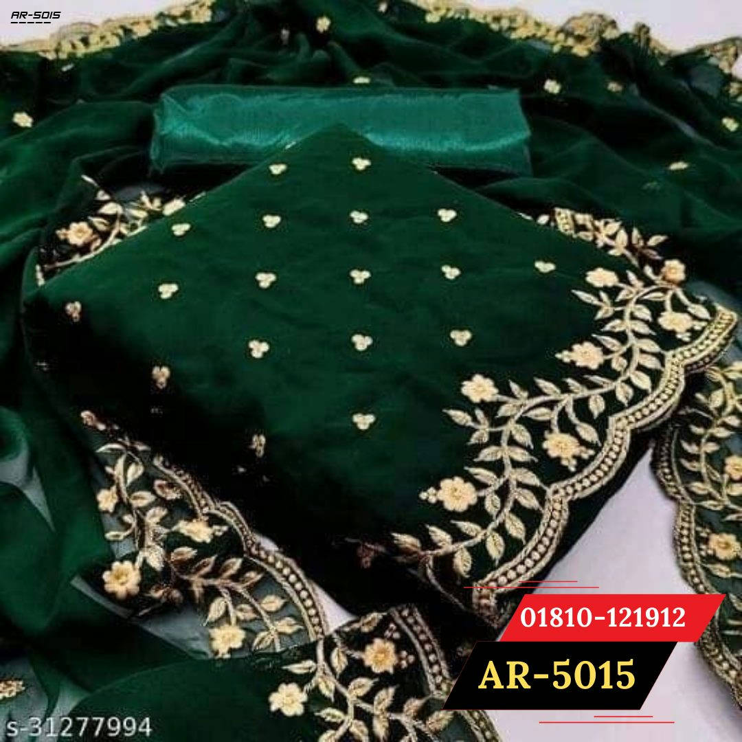 Bponi | Flaunt Green Colored  Partywear Embroidered Georgette Dress || salwar kameez design 2021