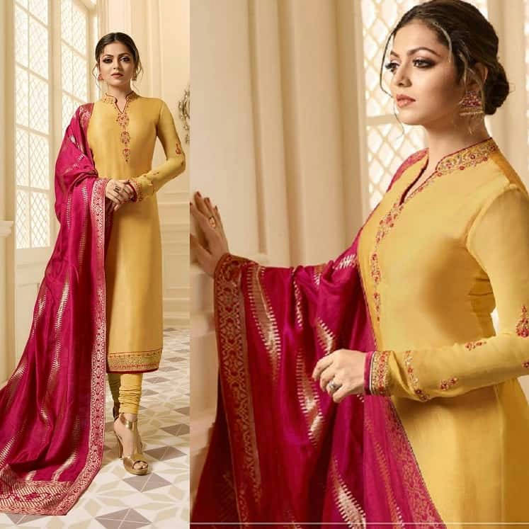 Bponi - Yellow Georgette Salwar Kameez With  Embroidery Work