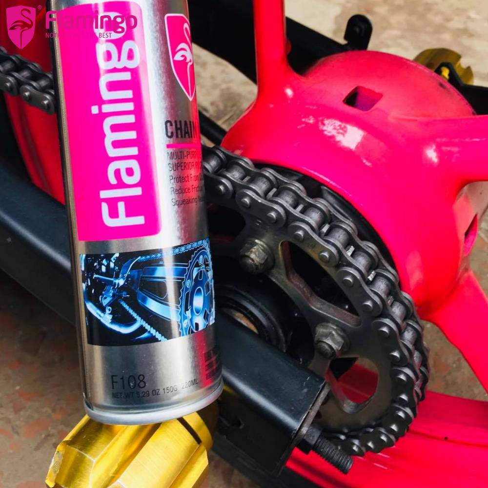 Bponi | Flamingo Chain Lube for Motorcycle, Bike 220ml (F108) Chain lubricant oil and chain Cleaner spray, motorcycle chain lube