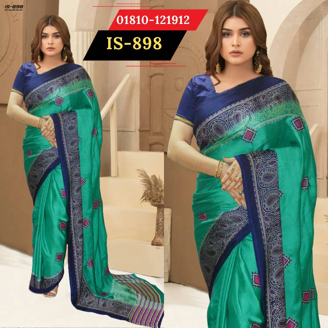 Bponi | Indian soft silk saree with blouse piece