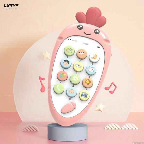 Bponi | English Mobile Shape Teething Baby Carrot Music Education Toy Phone Simulation