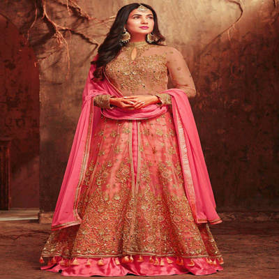Bponi | Semi-Stitched Georgette Embroidery Work Gown For Women
