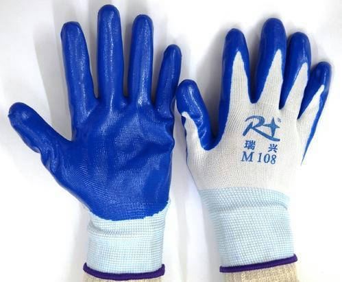 Bponi - Latex Full Fingered White Shell With Blue Nitrile Dipped Glove, Size: Medium