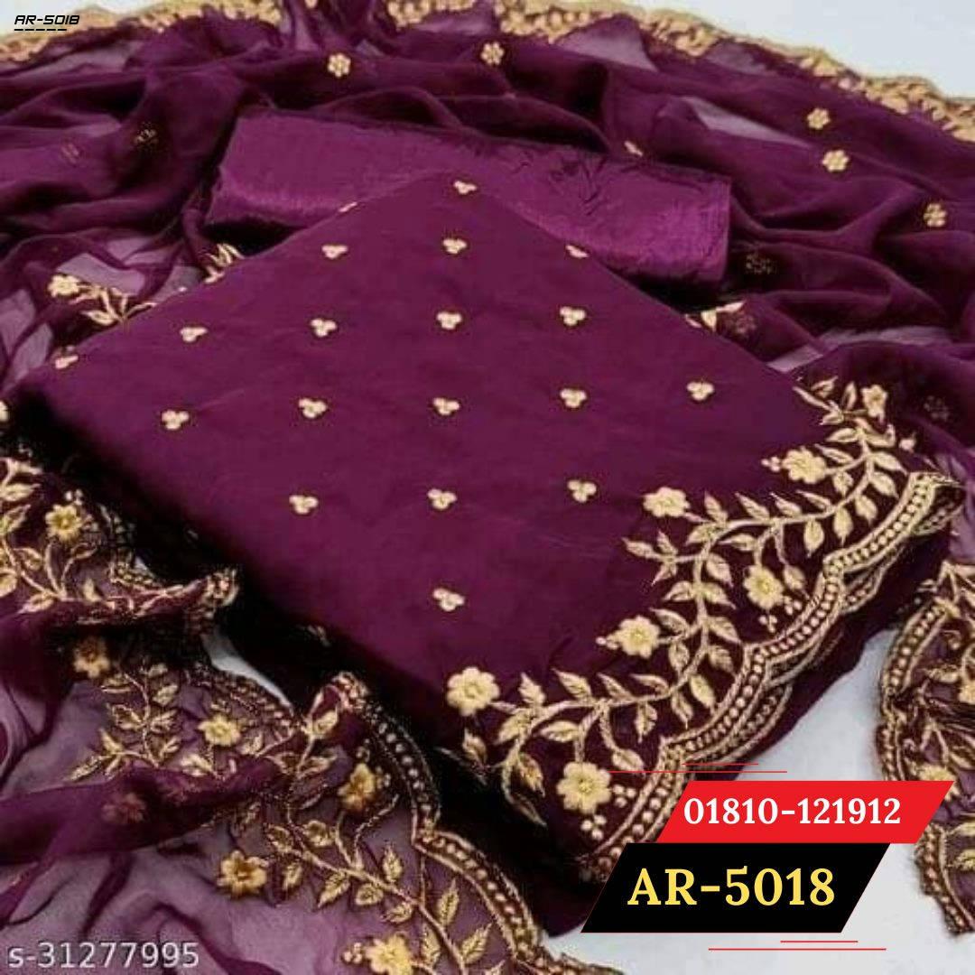 Bponi   Flaunt purple Colored Partywear Embroidered Georgette Dress    salwar kameez design 2021