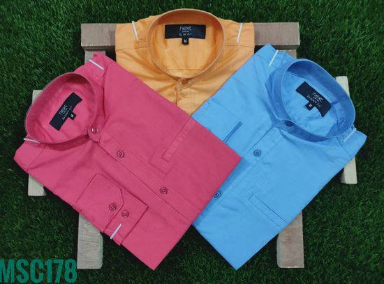 Men's cotton full sleeve shirt - 3 pcs combo - Bponi