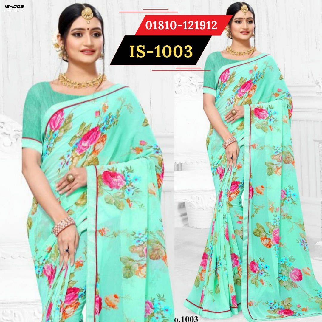 Bponi   Indian Georgette Saree with blouse piece