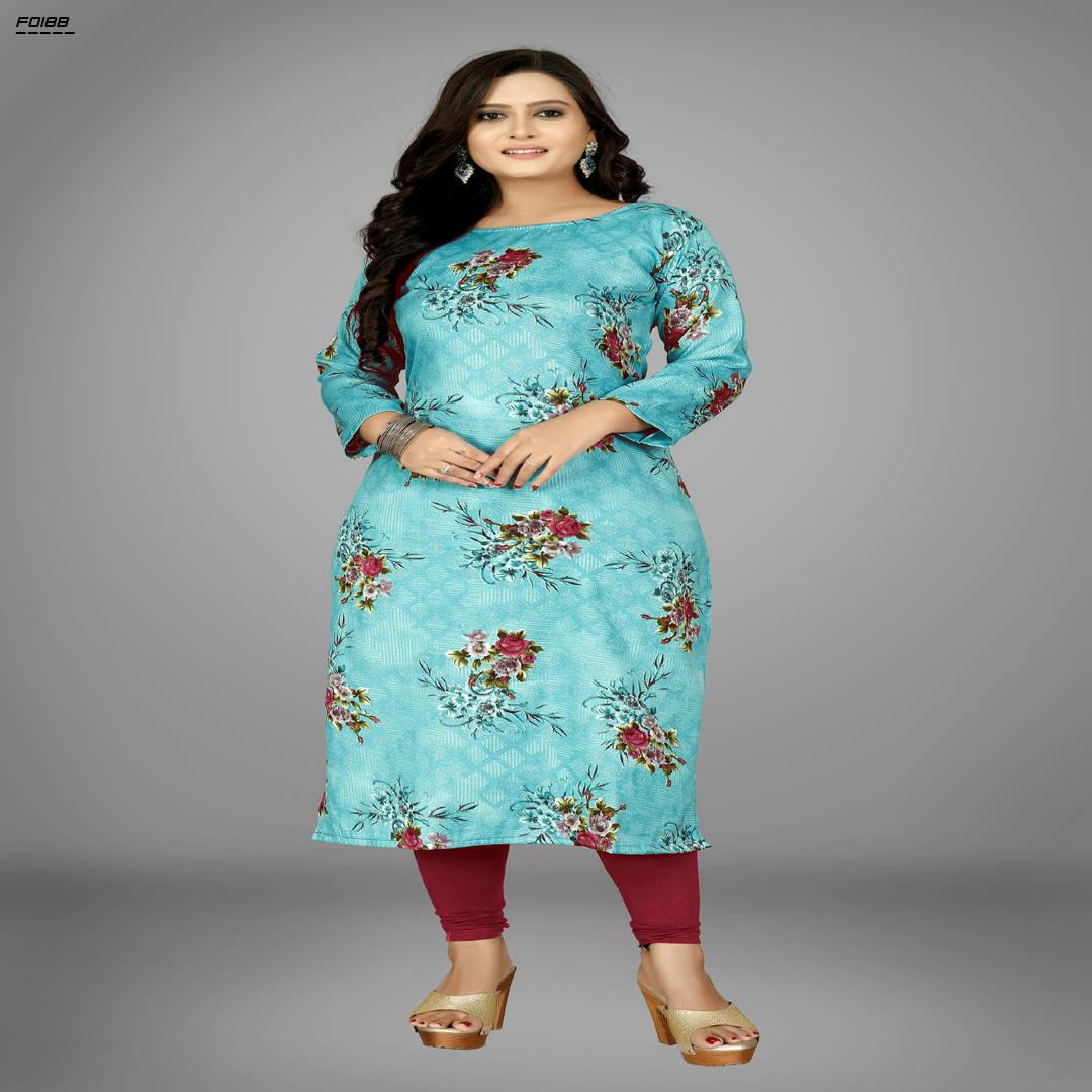Bponi | Indian Stylish Kurti - Cotton-Flower-Firozi-1