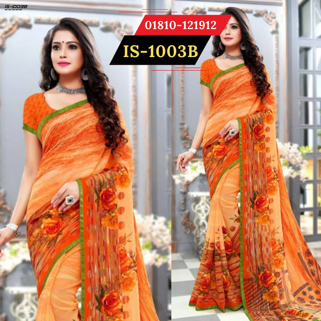 Bponi | Indian Georgette Saree with blouse piece