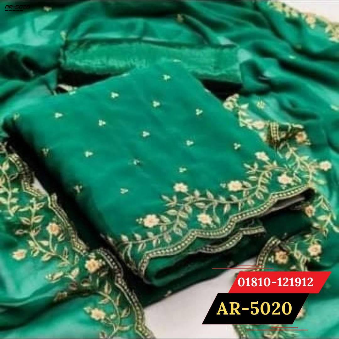 Bponi   Flaunt Green Colored Partywear Embroidered Georgette Dress    salwar kameez design 2021