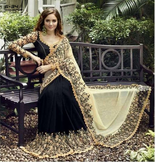 Bponi | Black & Cream Colour Saree With High Quality Embroidery Work