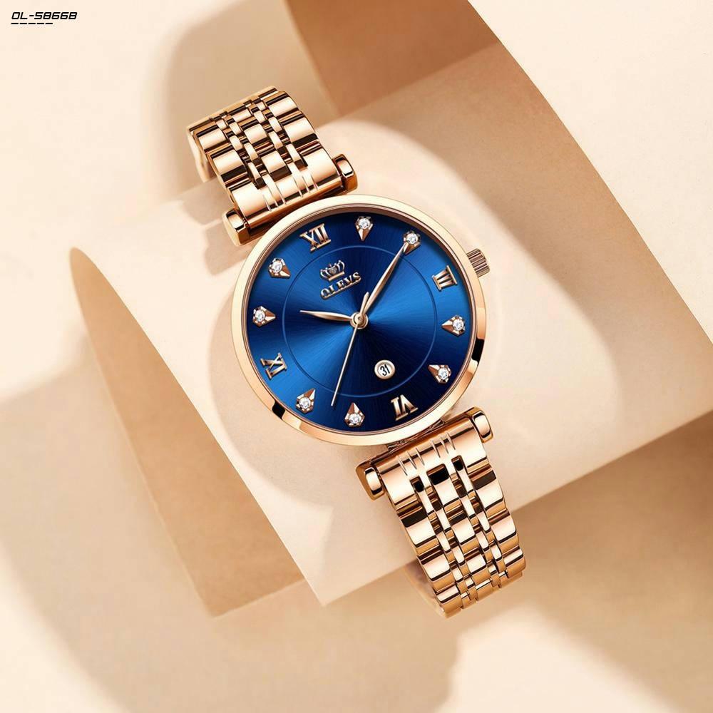 Bponi | OLEVS Fashion Watch For Women Luxury Stainless Steel Strap Quartz Watch Ladies Waterproof Casual Wristwatches OL-5866B