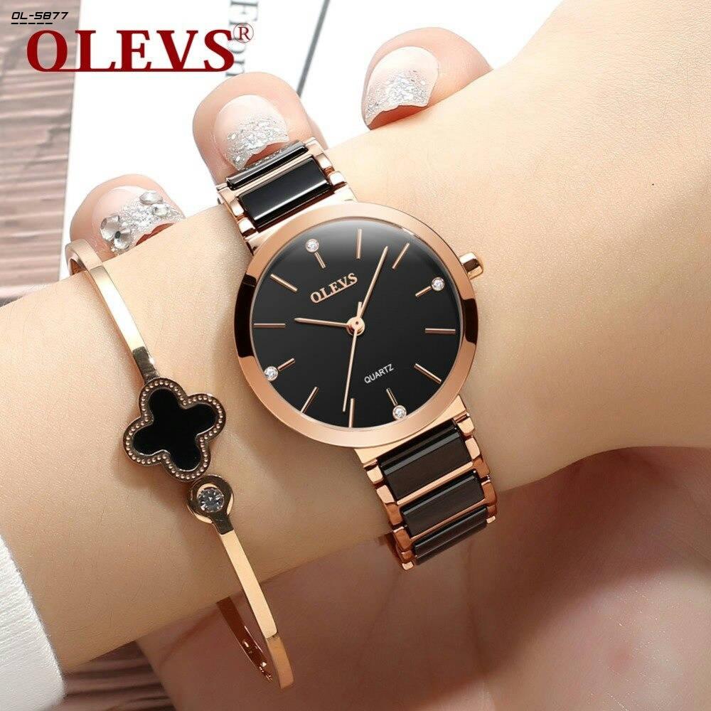 Bponi | OLEVS Elegant Fashion Quartz Ladies Watch Ceramic Strap Watch For Women Simple Waterproof Wristwatch - 5877