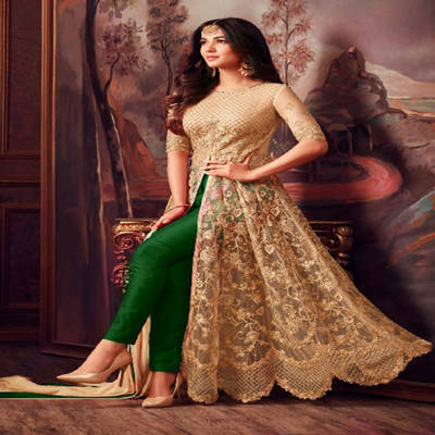 Bponi -  Semi-Stitched Georgette Embroidery Work Gown For Women