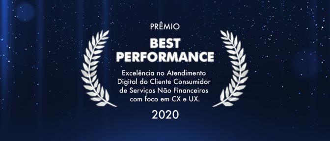 Prêmio Best Performance - Excelência no Atendimento DIgital do Cliente Consumidor de Serviços Não Financeiros com foco em CX e UX.