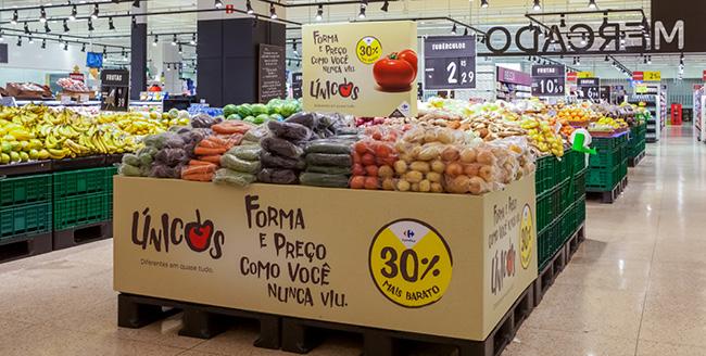 Ilha de produtos orgânicos da categoria Únicos Carrefour.
