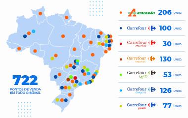 Mapa da presença do Grupo Carrefour no Brasil.