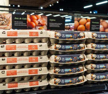 Embalagens de ovos Carrefour.