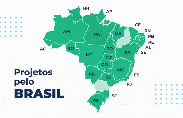 Mapa de projetos Carrefour pelo Brasil.
