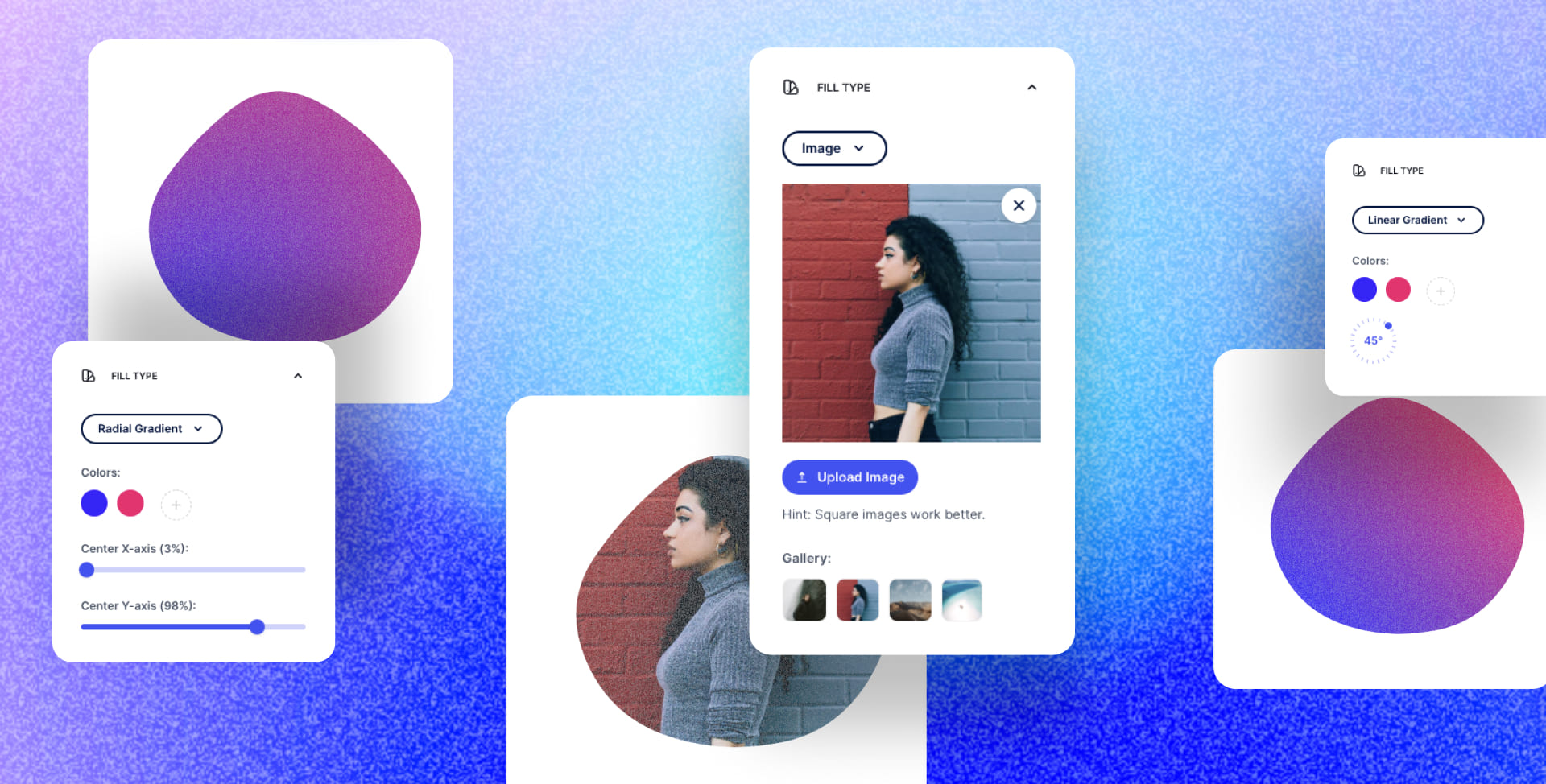 Outline, Gradients & Image fill for blobs
