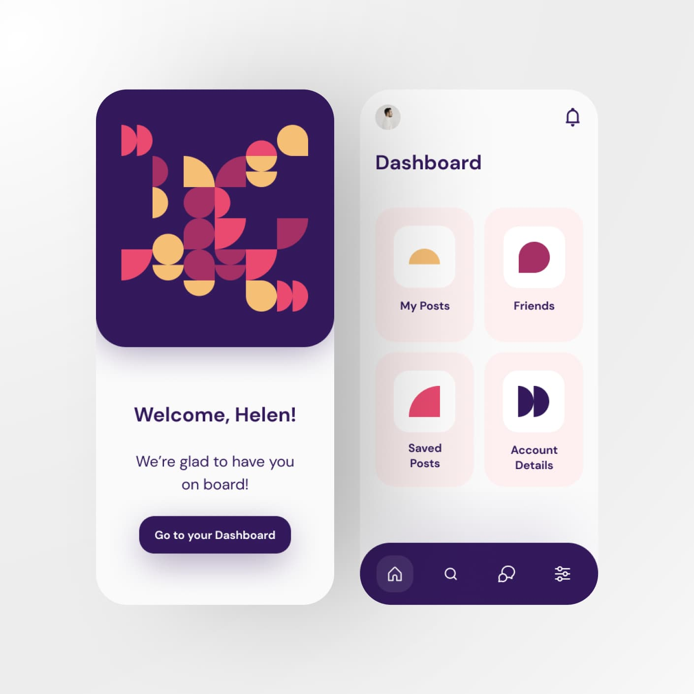 Mobile app decorated with patterns