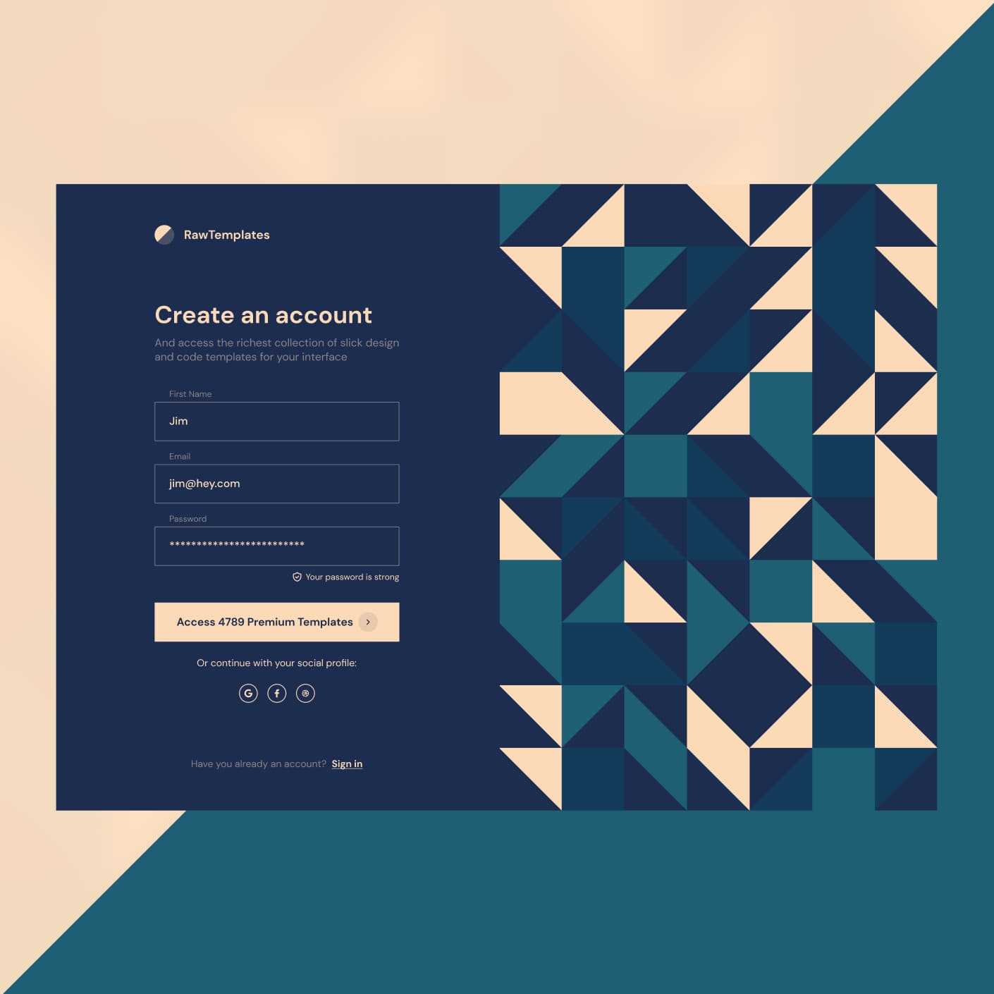 Login page with patterns on the right