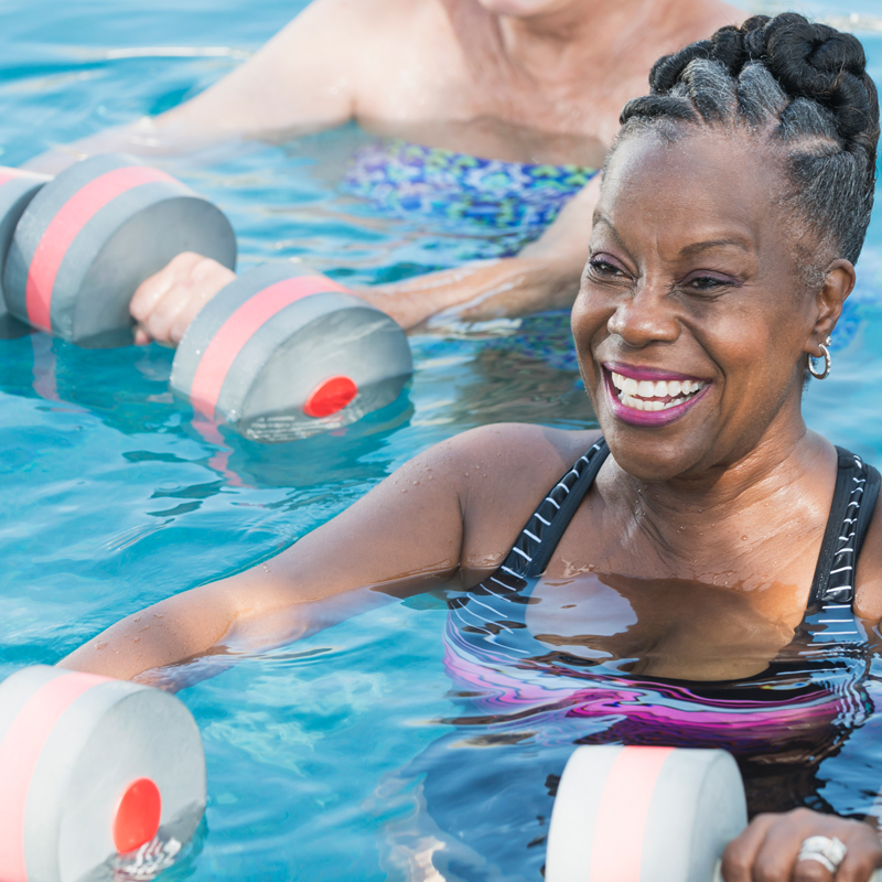 Seniors Exercising with aquatic therapy