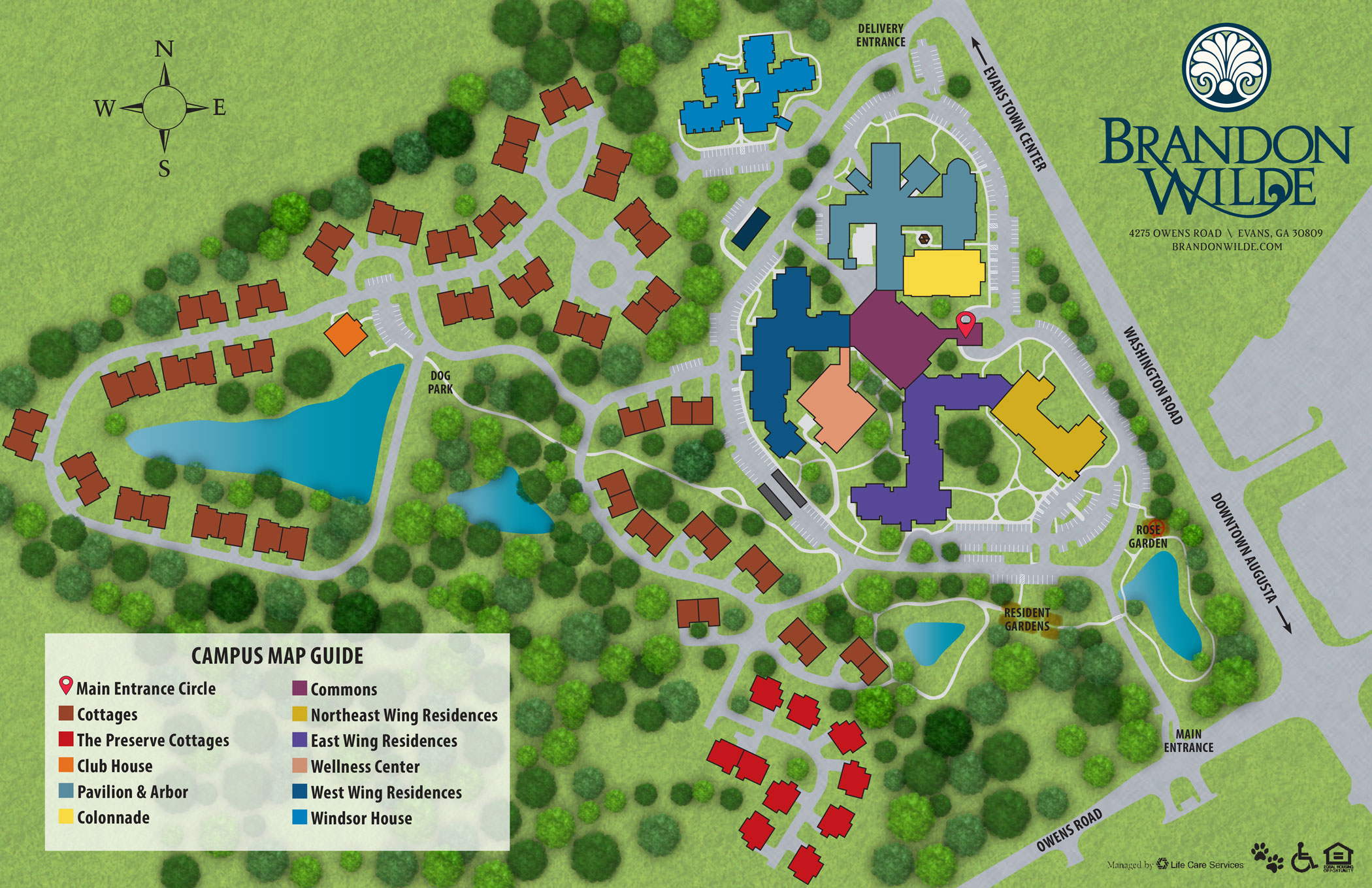 Brandon Wilde 73-acre campus with ponds, dog park, mini-gardens, walking trails and bike paths.