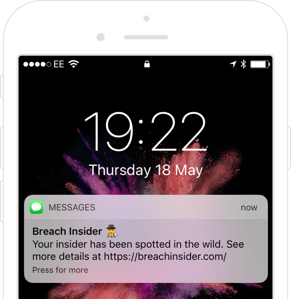 Data breach detection phone alert
