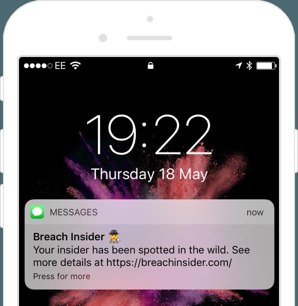 Data breach detection phone alert