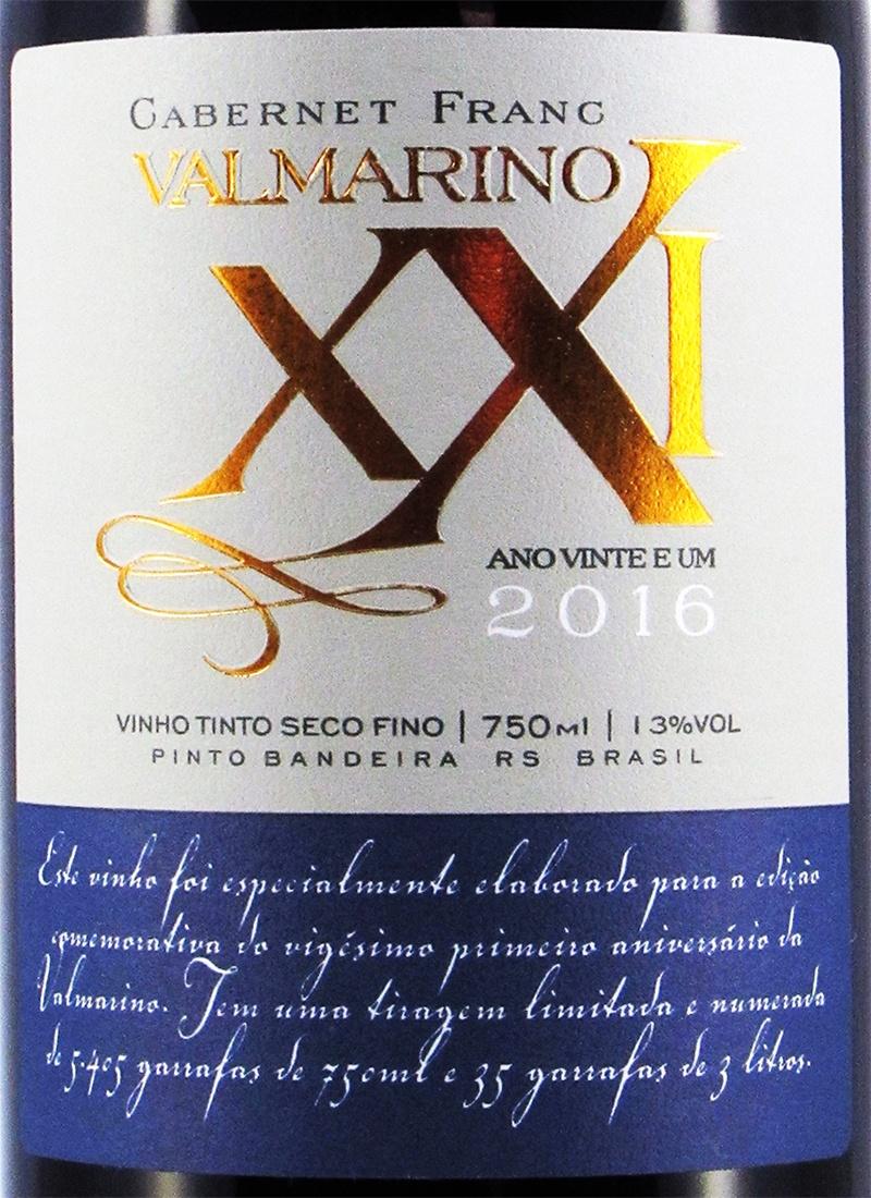 Vinho Tinto Seco Fino CABERNET FRANC ANO XXI VALMARINO
