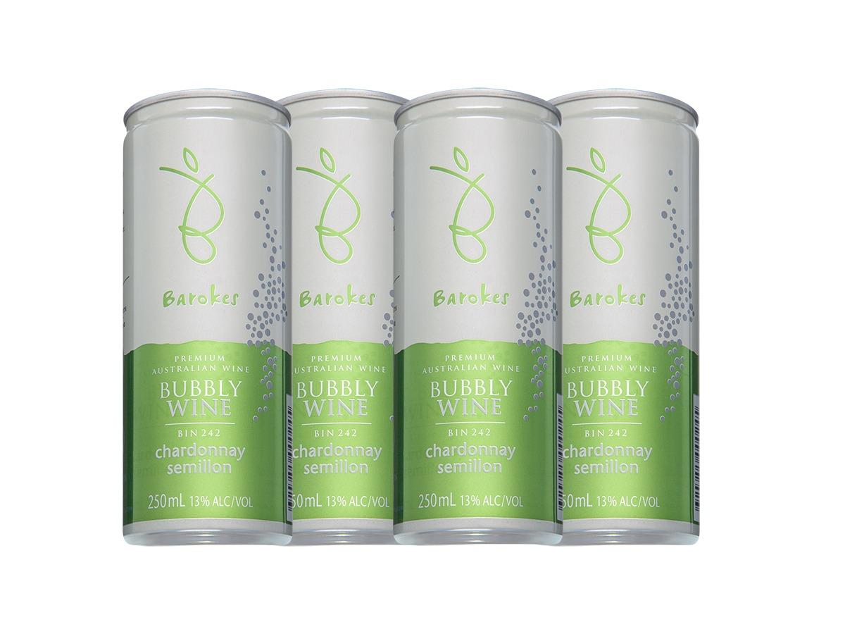 Vinho Branco Frisante Premium Australiano Barokes Pack Promo c / 4 latas de 250 ml