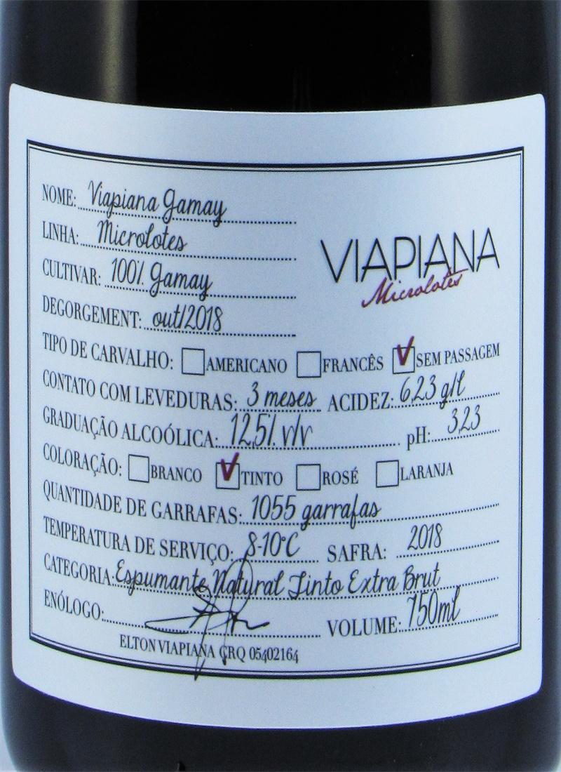 Vinho Premium Espumante Tinto Extra Brut GAMAY VIAPIANA 2018