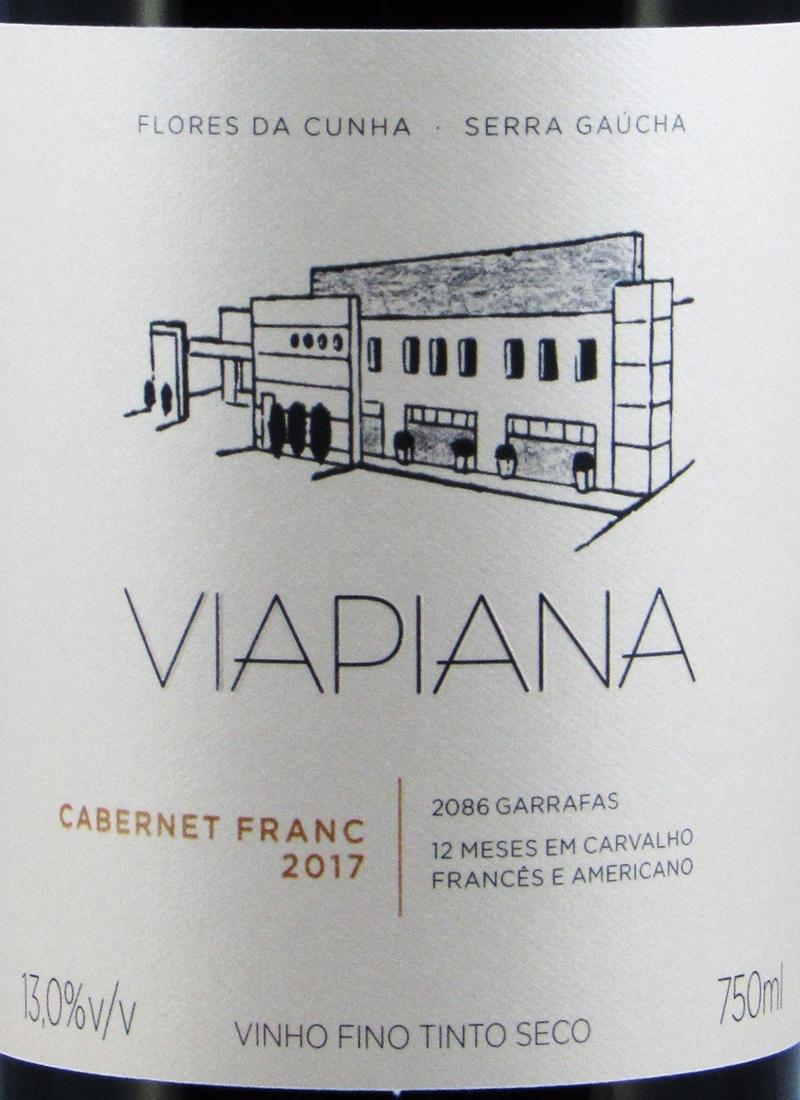 Vinho Premium Tinto Seco VIAPIANA CABERNET FRANC 2017