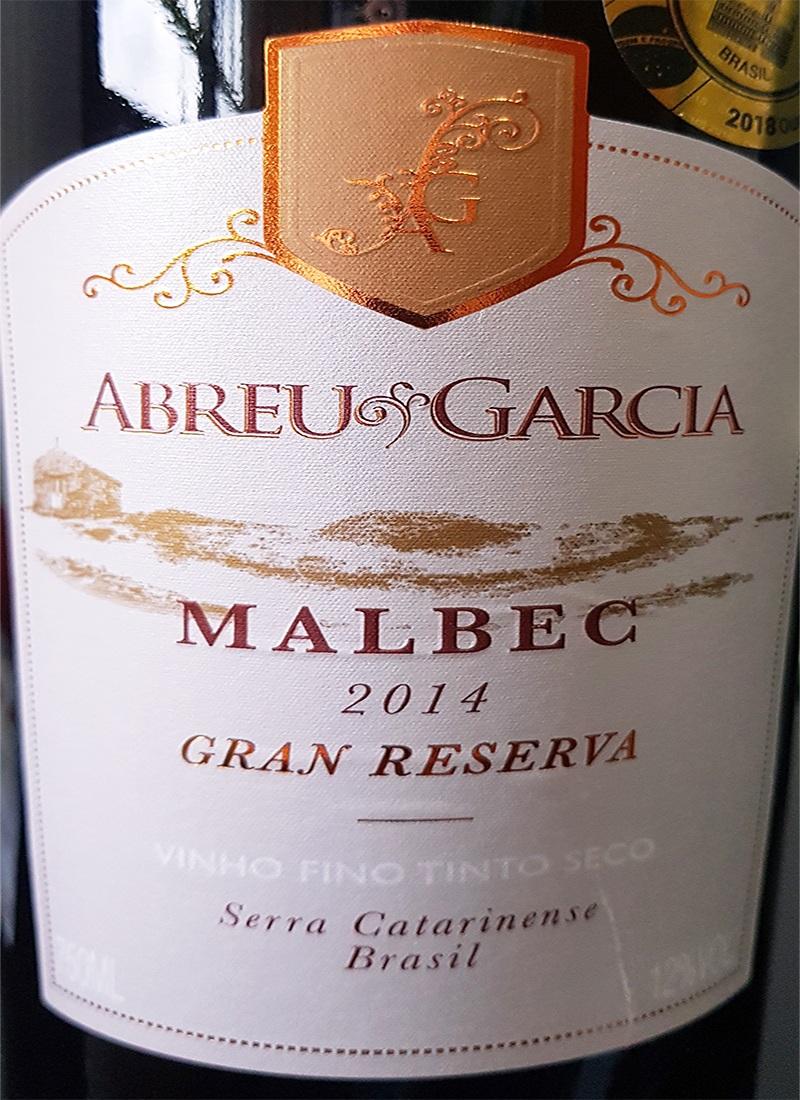 Vinho Tinto Fino Seco MALBEC ABREU GARCIA 2014