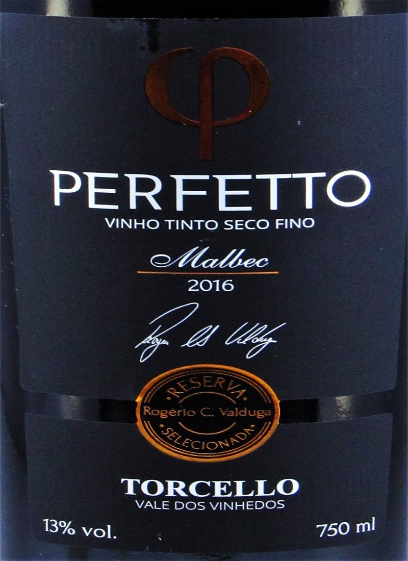 Vinho Tinto Seco Fino PERFETTO MALBEC 2016 TORCELLO