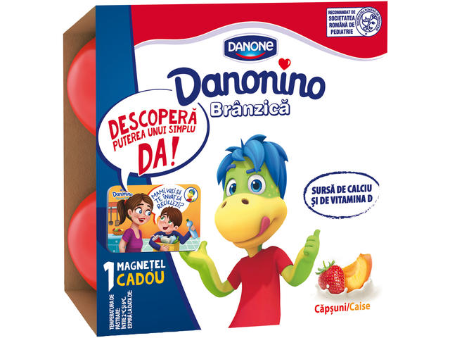 Pachet branzica de vaci cu piure de banane si zmeura Danonino 4x5 Danone