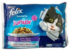 Mancare pentru pisici junior fantastic cu pui & somon 4 x 100 g Felix