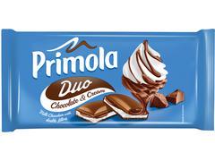 Ciocolata umpluta cu crema de ciocolata & crema de frisca Duo 89 g Primola