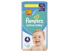 Scutece Pampers Active Baby Jumbo Pack, Marimea 4, 9 -14 kg, 62 buc
