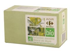 Preparat pentru infuzie din menta creata si cimbru Carrefour Bio 30g